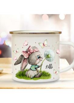 Emaille Becher Camping Tasse Motiv Hase Häschen mit Pusteblume  & Wunschname Name Kaffeetasse Geschenk Kinder eb494