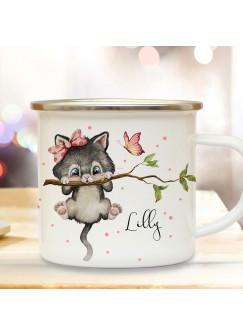Emaille Becher Camping Tasse Motiv Katze Kätzchen auf Ast & Wunschname Name Kaffeetasse Geschenk eb495