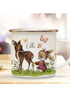Emaille Becher Camping Tasse Motiv Hase Häschen mit Reh & Wunschname Name Kaffeetasse Geschenk eb496