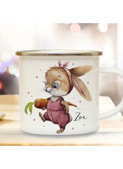 Emaille Becher Camping Tasse Motiv Hase Häschen Hasen Mädchen mit Möhre & Wunschname Name Kaffeetasse Geschenk eb497