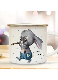 Emaille Becher Camping Tasse Motiv Hase Häschen Hasen Junge mit Flöte & Wunschname Name Kaffeetasse Geschenk eb498