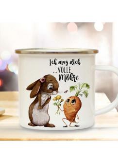 Emaille Becher Camping Tasse mit Hase Häschen mit Karotte & Spruch Ich mag dich volle Möhre Kaffeetasse Geschenk Kaffeebecher eb499
