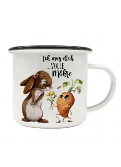 Emaille Becher Camping Tasse mit Hase Häschen Karotte Spruch Ich mag dich volle Möhre Kaffeetasse schwarzer Becherrand eb500