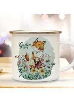 Emaille Becher Camping Tasse Gartentasse Motiv Frau Fuchs Füchschen & Wunschname Name auf Rückseite Kaffeetasse Geschenk eb502