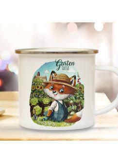 Emaille Becher Camping Tasse Gartentasse Motiv Herr Fuchs Füchschen & Wunschname Name auf Rückseite Kaffeetasse Geschenk eb503