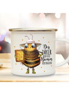 Emaille Becher Camping Tasse Biene Bienchen Spruch Der Imker dem die Bienen vertrauen Kaffeetasse Geschenk Kaffeebecher eb504