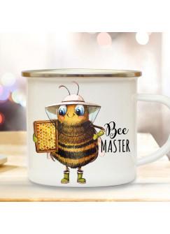 Emaille Becher Camping Tasse Imkerbiene Imker Biene Bienchen Spruch Bee Master Kaffeetasse Geschenk Kaffeebecher eb505
