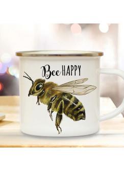 Emaille Becher Camping Tasse Biene Bienchen Spruch Bee Happy Kaffeetasse Geschenk Kaffeebecher eb506