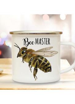 Emaille Becher Camping Tasse Biene Bienchen Spruch Bee Master Kaffeetasse Geschenk Kaffeebecher eb507