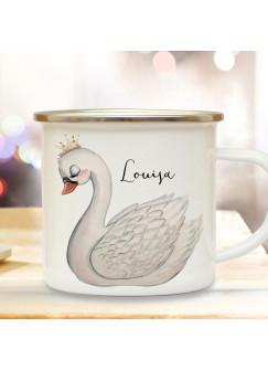 Emaille Becher Camping Tasse Motiv Schwan Vogel & Wunschname Name Kaffeetasse Geschenk eb510