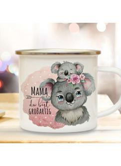 Emaille Becher Camping Tasse Koalabär Koala Mama mit Kind Spruch Mama du bist großartig Kaffeetasse Geschenk Muttertag Kaffeebecher eb511