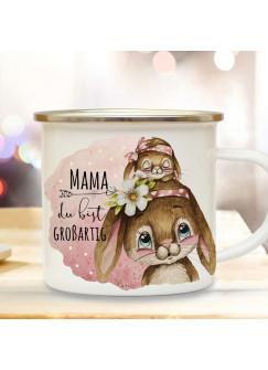 Emaille Becher Camping Tasse Hase Häschen Mama mit Kind Spruch Mama du bist großartig Kaffeetasse Geschenk Muttertag Kaffeebecher eb512