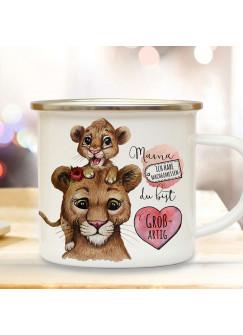 Emaille Becher Camping Tasse Löwe Löwenmama Mama mit Junges & Spruch Mama du bist großartig Kaffeetasse Geschenk Muttertag eb514