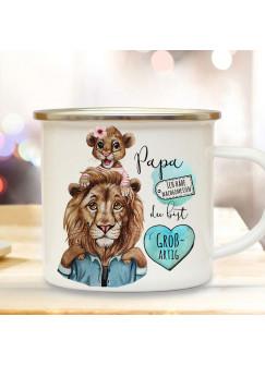 Emaille Becher Camping Tasse Löwe Löwenpapa Papa mit Tochter & Spruch Papa du bist großartig Kaffeetasse Geschenk Vatertag eb516