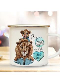 Emaille Becher Camping Tasse Löwe Löwenpapa Papa Kind Löwenjunge & Spruch Papa du bist großartig Kaffeetasse Geschenk Vatertag eb517
