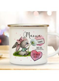 Emaille Becher Camping Tasse Hase Häschen mit Pusteblume & Spruch Mama du bist großartig Kaffeetasse Geschenk Muttertag eb518
