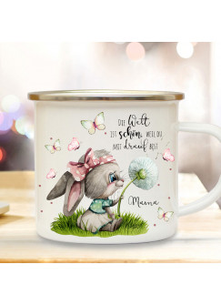Emaille Becher Camping Tasse Hase Häschen mit Pusteblume & Spruch Die Welt ist schön, weil du drauf bist Geschenk Mama Muttertag eb519