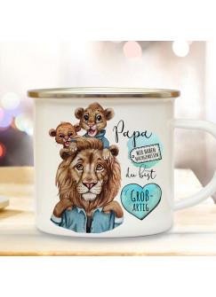 Emaille Becher Camping Tasse Löwe Löwenpapa Papa Kind 2 Löwenjungs & Spruch Papa du bist großartig Kaffeetasse Geschenk Vatertag eb520