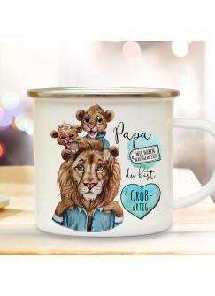 Emaille Becher Camping Tasse Löwe Löwenpapa Papa Kinder 1 Junge 1 Mädchen Spruch Papa du bist großartig Kaffeetasse Geschenk Vatertag eb521