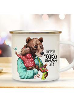 Emaille Becher Camping Tasse Bär Bärenpapa Papa Kind Bärenmädchen & Spruch Coolster Papa Ever Kaffeetasse Geschenk Vatertag eb531