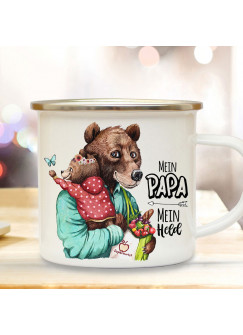 Emaille Becher Camping Tasse Bär Bärenpapa Papa Kind Bärenmädchen & Spruch Mein Papa Mein Held Kaffeetasse Geschenk Vatertag eb532