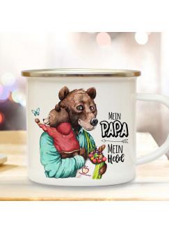 Emaille Becher Camping Tasse Bär Bärenpapa Papa Kind Bärenjunge & Spruch Mein Papa Mein Held Kaffeetasse Geschenk Vatertag eb533