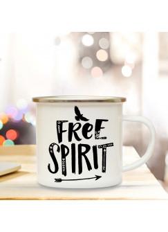 Emaille Tasse Becher mit Vogel & Spruch Kaffeebecher Camping Becher mit Motto Vogel Spruch free spirit eb54