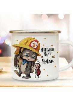 Emaillebecher Becher Tasse Camping Feuerwehr Häschen Hase Feuerwehrmann & Wunschname Name Kaffeetasse Geschenk eb554