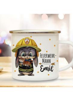 Emaillebecher Becher Tasse Camping Feuerwehr Hase mit Kätzchen Feuerwehrmann & Wunschname Name Kaffeetasse Geschenk eb555