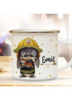 Emaillebecher Becher Tasse Camping Feuerwehr Hase mit Kätzchen & Wunschname Name Kaffeetasse Geschenk eb556