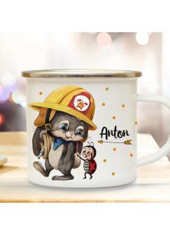 Emaillebecher Becher Tasse Camping Feuerwehr Häschen Hase & Wunschname Name Kaffeetasse Geschenk eb557