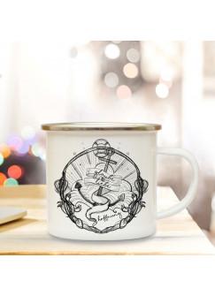 Emaille Tasse Becher mit Anker & Spruch Kaffeebecher Camping Becher mit Motto Zitat glaube liebe hoffnung eb56