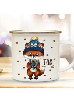 Emaillebecher Becher Tasse Camping Fuchs Winter & Wunschname Name Kaffeetasse Geschenk eb567