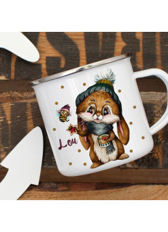 Emaillebecher Becher Tasse Camping Hase Häschen Biene Winter & Wunschname Name Kaffeetasse Geschenk eb568
