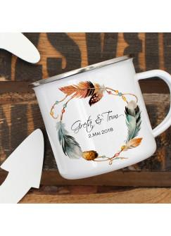 Emaille Tasse Becher mit Federkranz Namen und Datum Kaffeebecher Camping Becher mit Individualisierung eb57
