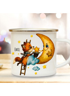 Emaillebecher Becher Tasse Camping Fuchs mit Mond & Wunschname Name Kaffeetasse Winter Geschenk eb571