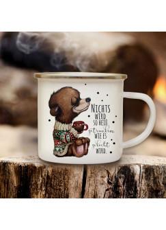 Emaillebecher Becher Tasse Camping Bär Bärchen mit Tasse Kaffeetasse Winter Geschenk eb574