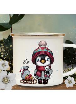 Emaillebecher Becher Tasse Camping Pinguin mit Schlitten & Wunschname Name Kaffeetasse Winter Weihnachten Geschenk eb577