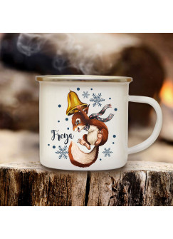 Emaillebecher Becher Tasse Camping Eichhörnchen mit Glocke & Wunschname Name Kaffeetasse Winter Weihnachten Geschenk eb579