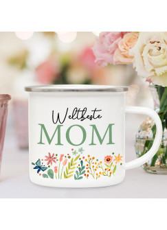 Emaille Becher Camping Tasse Blumen Blümchen Spruch Weltbeste Mom Kaffeetasse Geschenk Muttertag eb591