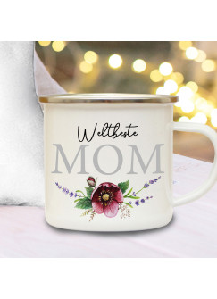 Emaille Becher Camping Tasse Blumen Blümchen Spruch Weltbeste Mom Kaffeetasse Geschenk Muttertag eb592
