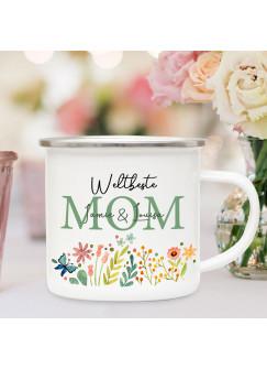 Emaille Becher Camping Tasse Blumen Blümchen Spruch Weltbeste Mom grün Name Wunschname Kaffeetasse Geschenk Muttertag eb593