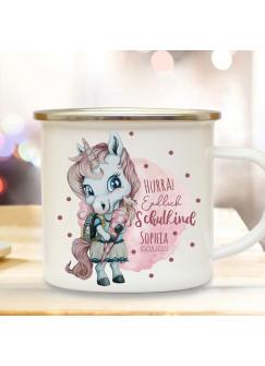 Emaille Becher Einschulung Tasse Einhorn Mädchen rosa pink Schultüte Spruch Hurra endlich Schulkind & Name Wunschdatum Kaffeetasse Geschenk eb603