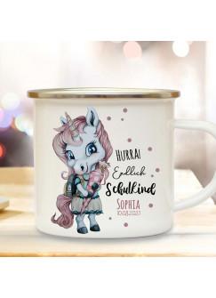 Emaille Becher Einschulung Tasse Einhorn Mädchen rosa Schultüte Spruch Hurra endlich Schulkind & Name Wunschdatum Kaffeetasse Geschenk eb605