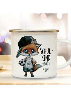 Emaille Becher Einschulung Camping Tasse Fuchs Fußball Junge Schulkind & Name Datum Kaffeetasse Geschenk Schulanfang eb606