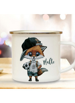 Emaillebecher Emaille Becher Camping Tasse Fuchs Fußball Junge & Name Wunschname Kaffeetasse Geschenk eb607