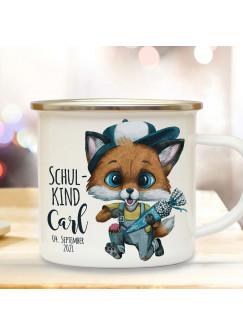 Emaille Becher Einschulung Camping Tasse Fuchs Schultüte Junge Schulkind & Name Datum Kaffeetasse Geschenk Schulanfang eb609
