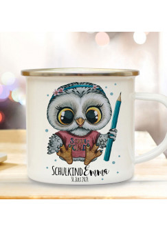 Emaille Becher Einschulung Tasse Eule Eulen Mädchen Bleistift Schulkind & Name Wunschdatum Kaffeetasse Geschenk eb611