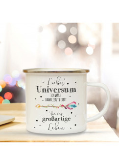Emaille Becher Camping Tasse mit Pfeil & Spruch Liebes Universum Kaffeetasse Geschenk Kaffeebecher eb63