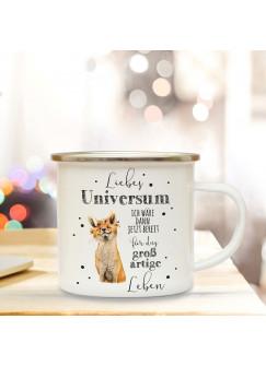 Emaille Becher Camping Tasse mit Fuchs & Spruch Liebes Universum Kaffeetasse Geschenk Kaffeebecher eb64